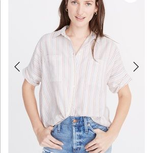 NWT Madewell Rainbow Striped Courier Shirt M